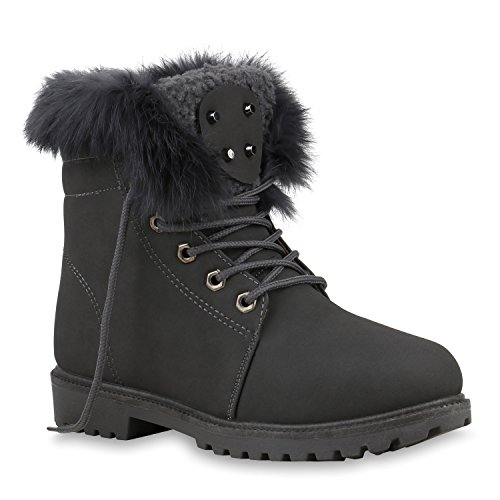 Stiefelparadies Warm Gefütterte Damen Stiefeletten Fell Worker Boots Outdoor Schuhe Flandell Grau All Brooklyn