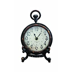 Creative Co-op Black Pewter Mantel Clock with Stand