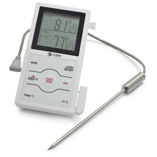 CDN DSP1 Dual Sensing Programmable Probe Thermometer and Timer-Measures Oven Temperature and Food Temperature - Cdn Meat Thermometer