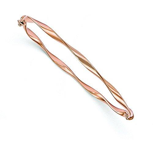 3 mm - 10 k or Rose torsadée poli Bracelet Bracelet or de haute qualité en or 9 carats