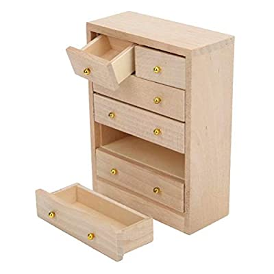 iLAZ 1:12 Scale Dollhouse Furniture Miniature Dresser Cabinet for Bedroom for Doll House, Miniature Accessory Kids Pretend Toy, Creative Birthday Handcraft Gift: Toys & Games