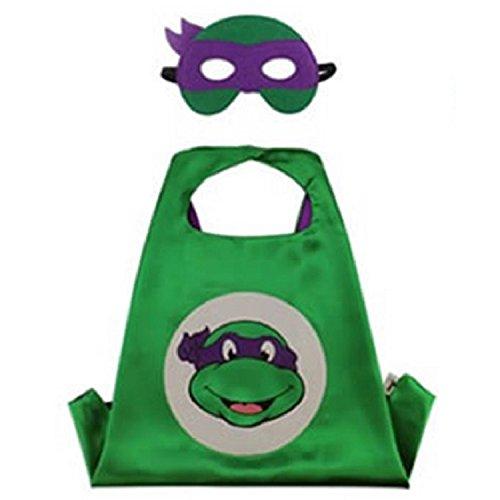 Ninja Turtle Dress Up Set (Superhero CAPE & MASK SET Kids Childrens Halloween Costume TMNT Donatello Turtle)
