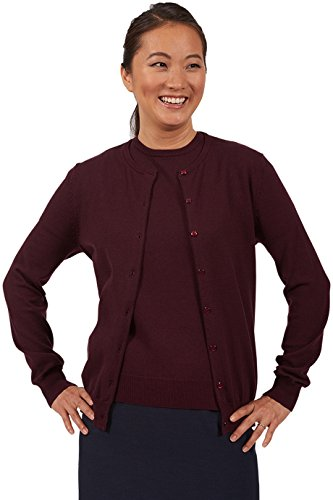 Edwards Garment Women's Cardigan Twin Set, Small Cabernet
