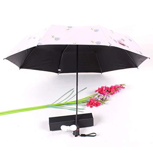 CapsA Travel Umbrella,Charging Folding Umbrella with Fan 2000 MAh to Send Fan Windproof Reinforced Quick-Drying Lightweight Sun Rain Umbrella (Pink)