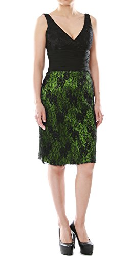 MACloth Women V Neck Short Lace Mother of Bride Dress Cocktail Formal Gown Green - Negro
