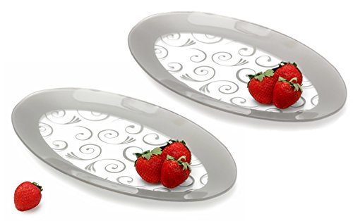 GAC Tempered Glass Oval Platter Serving Tray and Decorative Plate Set of 2 Unbreakable - Chip Resistant - Oven and Microwave Safe - Dishwasher Safe - -