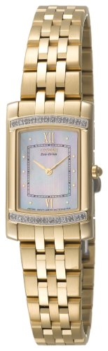 Stiletto Diamond Watch - Citizen Women's EG3122-57D Eco-Drive Stiletto Diamond Accented Gold-Tone Watch