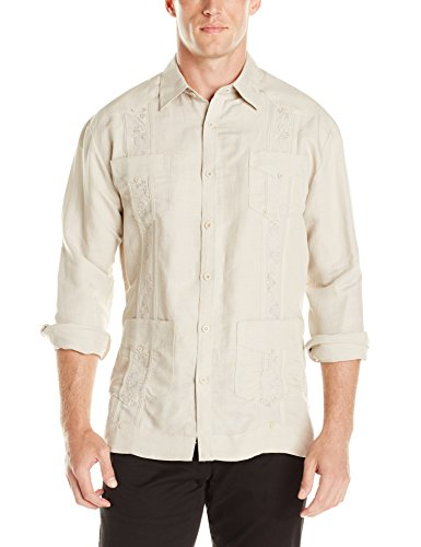 Cubavera Men's Long Sleeve Embroidered Guayabera Shirt, Natural Linen, ()