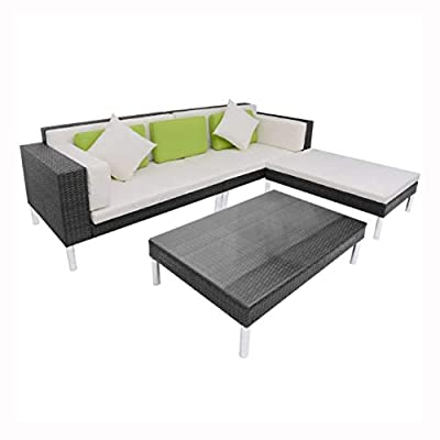 HomyDelight Outdoor Furniture Set, 4 Piece Garden Lounge Set with Cushions Poly Rattan Black