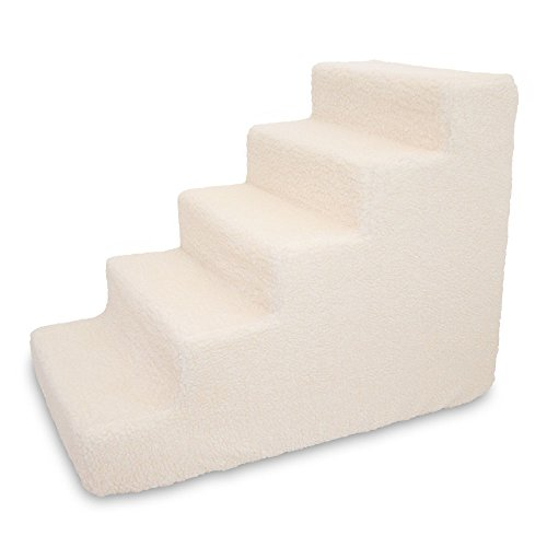 Best Pet Supplies ST220T-L Foam Pet Stairs/Steps, 5-Step, Lambswool