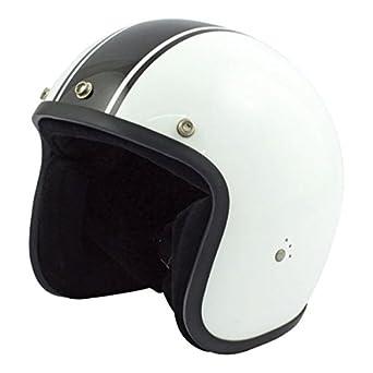 Casco abierto universal Helmet Jet Bandit Classic, Negro/Blanco, delgado, para Moto