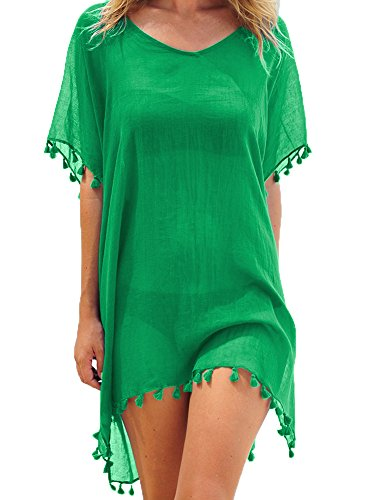 Adreamly Women's Chiffon Bathing Suit Swimwear Tassel Beach Cover Up Free Size Green (Chiffon Suit Green)