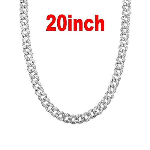 Crystal Chain Link - AOVR Hip Hop CUBAN LINK 15mm CZ CRYSTAL 14K Gold Plated Fully Iced-Out 18
