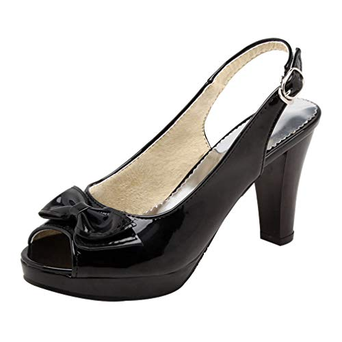 - Vitalo Womens Patent Leather Slingback Peep Toe Pumps Platform Bow Heels Court Shoes Size 7.5 B(M) US,Platform Black