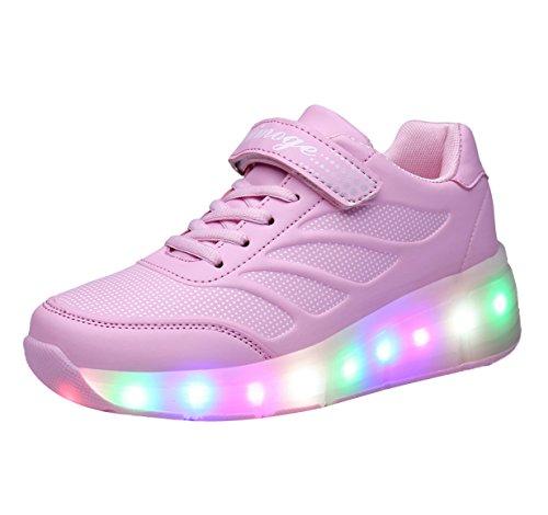 FOUPLER Girl's LED Light up wheels Roller Shoes Skates Sneakers for Little Big Kid 02Pink 1/32 ()