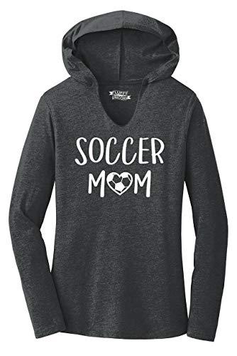 Ladies Hoodie Shirt Soccer Mom Black Frost -
