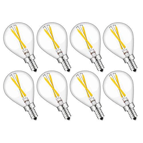 CRLight LED Candelabra Bulb 3500K Neutral White 25W Equivalent 250LM, 2W Dimmable E12 Base Tiny G14(G45) Edison LED Globe Bulb, Chandelier Ceiling Fan Bathroom Vanity Mirror Light Bulbs, 8 Pack