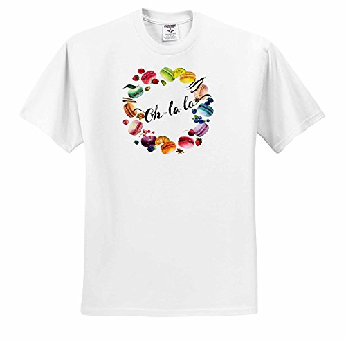 Price comparison product image Anne Marie Baugh - Watercolor - Cute Watercolor French Macaroon Cookies Wreath With Oh La La - T-Shirts - Youth T-Shirt Med(10-12) (ts_252899_13)