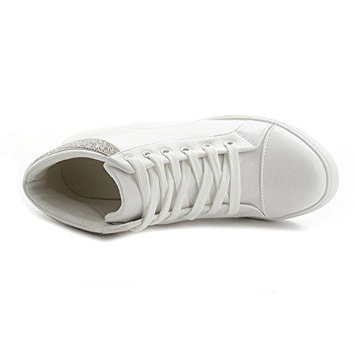 Btrada Womens Alta Top Nascosta Zeppa Moda Sneakers Lace Up Piattaforma Scarpe Sportive Casual Bianco Più Velluto