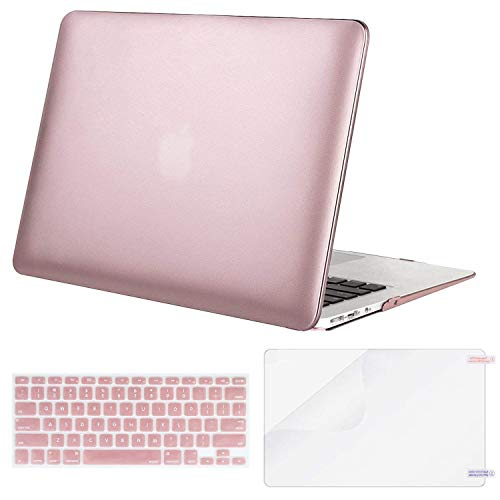 MOSISO Plastic Hard Case & Keyboard Cover & Screen Protector Only Compatible MacBook Air 13 Inch (Models: A1369 & A1466, Older Version Release 2010-2017), Rose Gold