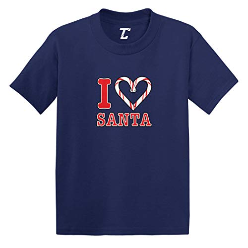 I Love Santa - Candy Cane Heart Infant/Toddler Cotton Jersey T-Shirt (Navy, 5T) -