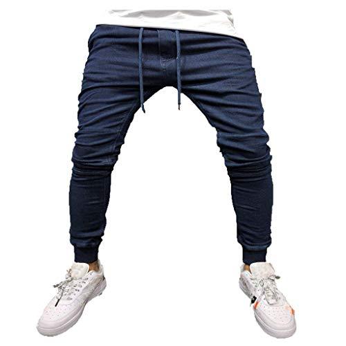 (Men Casual Pants Skinny Slim Fit Gym Wear Sweat Trousers Slim Fit Bottoms with Drawstring (M, Dark Blue))