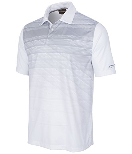 Greg Norman Mens Striped Performance Rugby Polo Shirt Brightwhite - Polo Striped Shirt Greg Norman