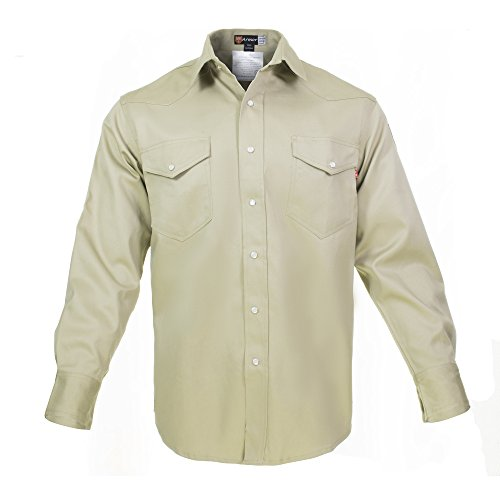 Just In Trend Flame Resistant FR Shirt - 100% C - Light Weight (Large, Khaki)