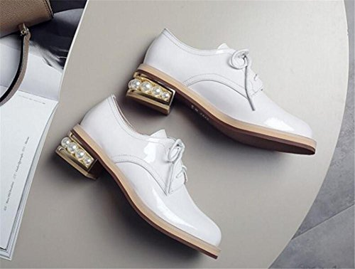 a 41 Blanco de Pearl 36 Suela Heel mujer Oxford Tamaño Charol Zapatos Cordones gfxUvnv