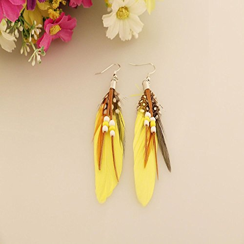 Phonphisai shop Earrings Indian Feathers Feather Leather Beads Earrings Bohemian Style Color Yellow ()