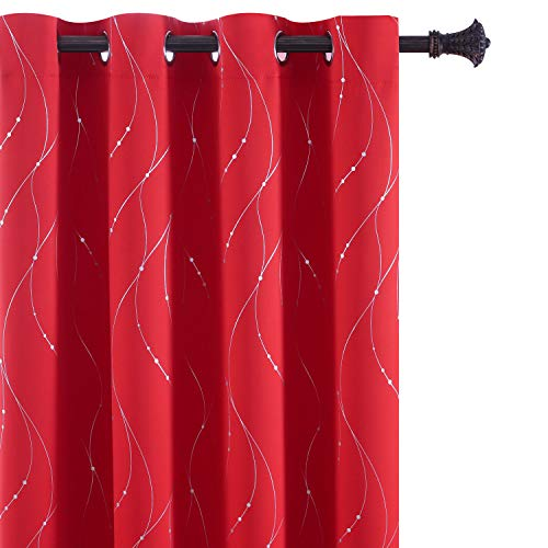 BU HUA Thermal Insulated Blackout Curtains 84 Inch Long Silver Wave Striped Curtains Window Curtains for Christmas Living Room 52W×84L Red Set of 2 (Red Sale Striped Curtains)