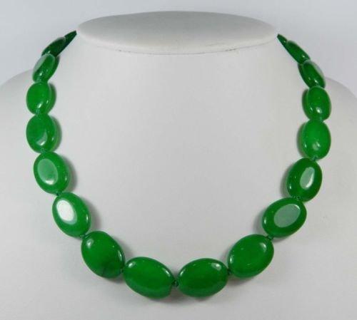 Gozebra(TM) 13x18mm Green Emerald Gemstones Oval Beads Necklace 18