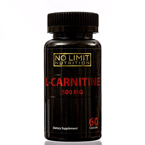 No Limit Nutrition L-Carnitine 500 MG Weight Loss Supplement 60 Capsules - Metabolism Booster - Healthy Heart - Immune System Support