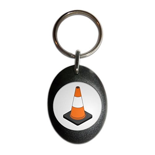 Traffic Cone - Black Plastic Oval Key Ring - Oval Ovals Cone