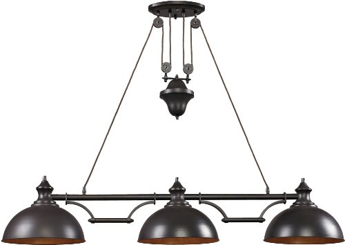Elk Island Fixtures (Elk 65151-3 56 by 11-Inch Farmhouse 3-Light Billiard/Island Chandelier, Oiled Bronze Finish)