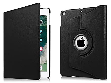 Tezk PU Leather Flip Cover for Apple iPad 6th/5th Generation  9.7 inch, Black