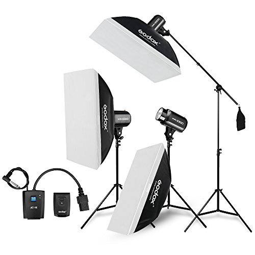(Godox E300 Strobe Studio Flash Light Kit 900W - Photographic Lighting - Strobes, Light Stands, Triggers, Soft Box,Boom Arm (110V))