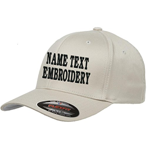 - Custom Embroidery Hat Personalized Flexfit 6277 Text Embroidered Baseball Cap - Creamy Beige