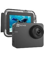 EZVIZ 4K Action Cam mit wasserdichtem Gehäuse 4K 30 WiFi Action Kamera mit EIS, Sprachbefehl, LCD Touchscreen, 150° Weitwinkelobjektiv, Low-Light Modus, App für Smartphone, Modell S6 Helmkamera