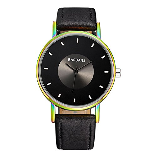 Luzoeo Laddy Simple Wrist Watch No Index Dial Mulicolor Alloy Case PU Leather Strap ()