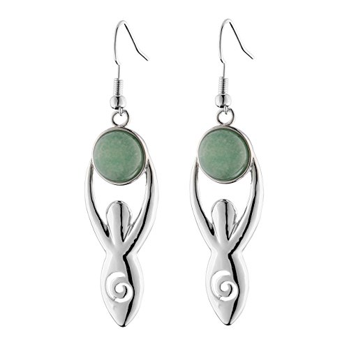 Top Plaza Fashion Silver Spiral Goddess Earth Mother Charm Copper Dangle Drop Earrings Chakra Healing Crystal Natural Gemstone Hook Earrings(Green ()