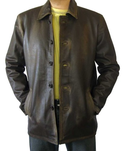 Real Leather Supernatural Winter Distressed Brown Leather Coat (2XL) [RL-SUPN-BR-2XL] (Genuine Leather Jacket Coat)
