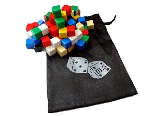 Discount Learning Supplies 100 Assorted Blank Dice 16 mm with Storage Bag