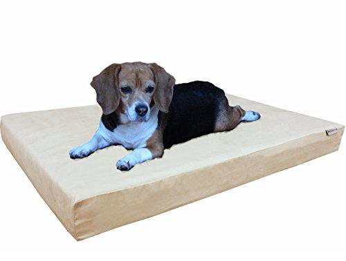 Dogbed4less Orthopedic Small Medium Cool Memory Foam Pet Dog Bed, Waterproof Liner with Khaki MicroSuede Cover and Extra External Case 35X20X4 Inch