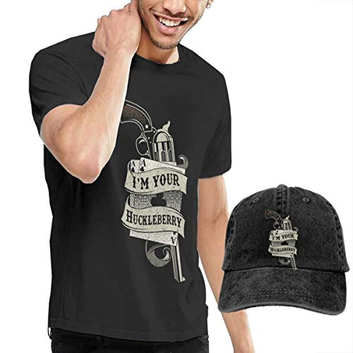 Men's Short Tee Huckleberry Crew Neck T-Shirts and Baseball Cap Cotton Sleeve Shirts with Cowboy Peaked Hat -