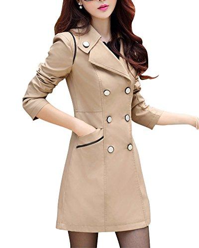 Donna Doppio Tinta Sottile Petto Coat Cappotto Lunga Trench Risvolto Sezione Cachi Unita rqrWHFp4T