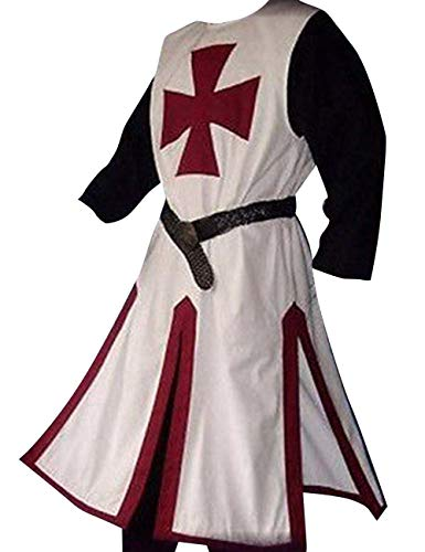 Medieval Templar Knight - LETSQK Medieval Crusader Templar Knight Warrior Tunic Robe Halloween Costume Burgundy L