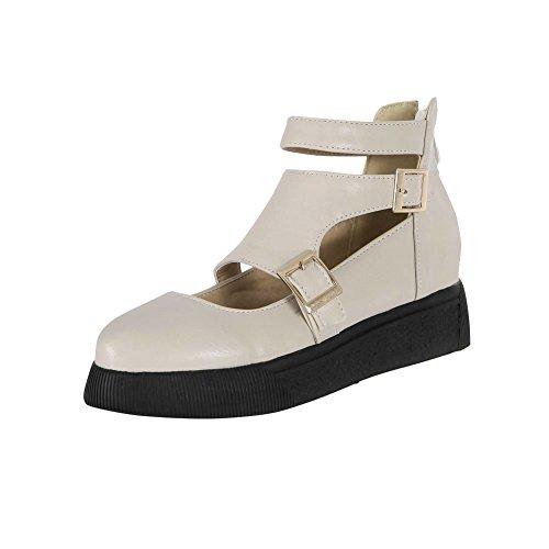 Carolbar Donna Estate Uso Multi Fibbia Comfort Casual Cerniera Traforata Sandali Tacco Basso Scarpe Beige Bianco