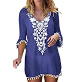 Forthery-Women Crochet Chiffon Tassel Swimsuit Bikini Pom Pom Trim Swimwear Beach Cover Up(Blue,Medium(US-6)