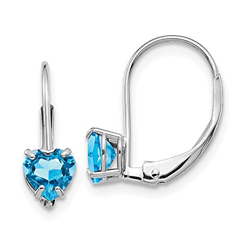 (14k White Gold 5mm Heart Blue Topaz Leverback Earrings Lever Back Love Drop Dangle Gemstone Prong Fine Jewelry Gifts For Women For Her)